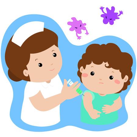 Vaccinatie kind cartoon vector illustration.Nurse vaccinatie injectie geven naar schattige kleine jongens vector.