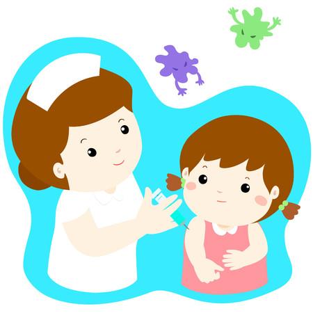 Vaccination child cartoon vector illustration.Nurse giving vaccination injection to cute little girl vector. 일러스트