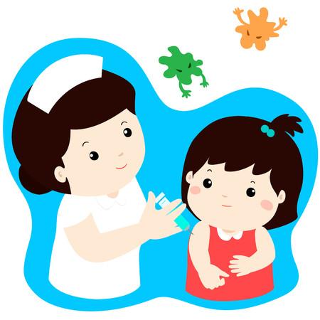 Vaccination child cartoon vector illustration.Nurse giving vaccination injection to cute little girl vector. Illusztráció