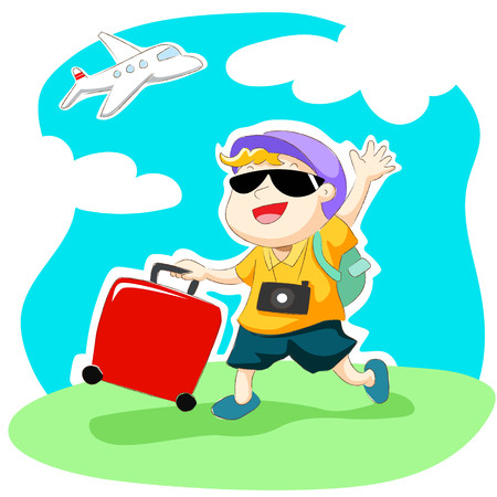 HI: Happy traveller waving his hand with luggage.  Cute airplane vector. Illustration