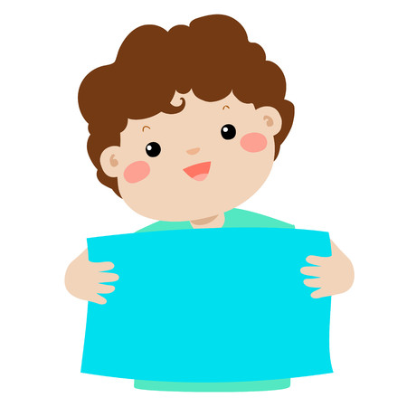 Cute boy holding blank banner vector illustration.
