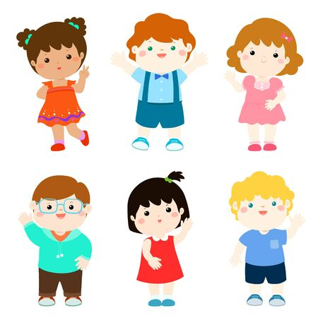 Happy kids variety nationality cartoon vector illustration.