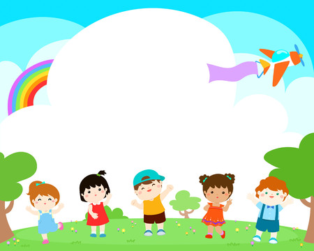 Happy children on the yard, funny vector. Illustration