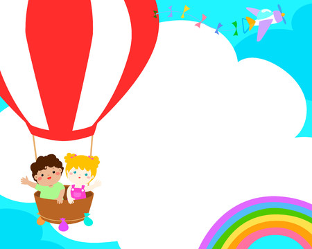 Happy boy and girl in the balloon, colorful vector. Ready for your message.Blank template for advertising brochure.Primary education illustration design.