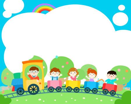 Bambini felici sul treno, vettore colorato. Pronto per il tuo messaggio. Modello in bianco per la progettazione del campo estivo brochure brochure.illustration. Archivio Fotografico - 82422013