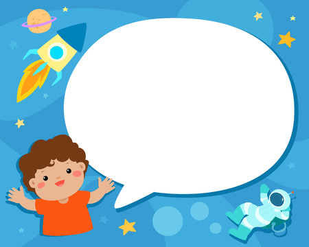 Cute boy with blank speech bubble on universe illustration background vector template. Illustration