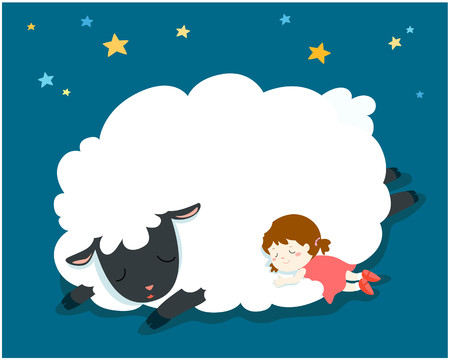Cute sleeping girl with big fluffy sheep vector illustration.Night sky and stars background.