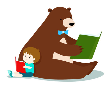 Cute boy and fluffy bear love to read a book vector illustration. Illustration