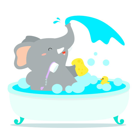 Happy elephant cartoon take a bath in tub vector illustration. Ilustracja