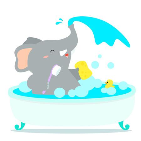 Happy elephant cartoon take a bath in tub vector illustration. Illustration