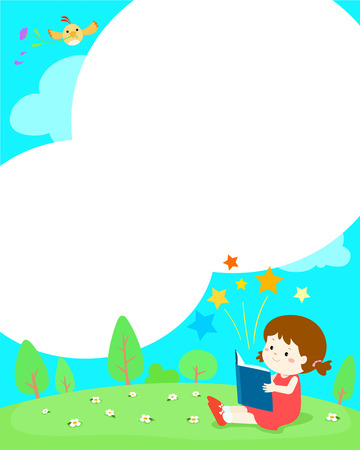 Blank template girl reading a book vector illustration. Ready for your message. Blank template for advertising brochure. Çizim