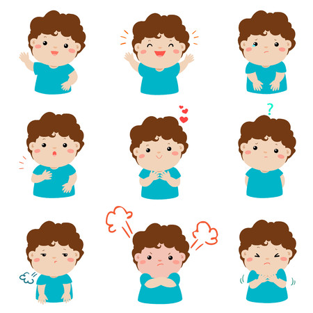Set of cartoon vector kid emotions on white background.Variety boy face expression illustration. Illustration