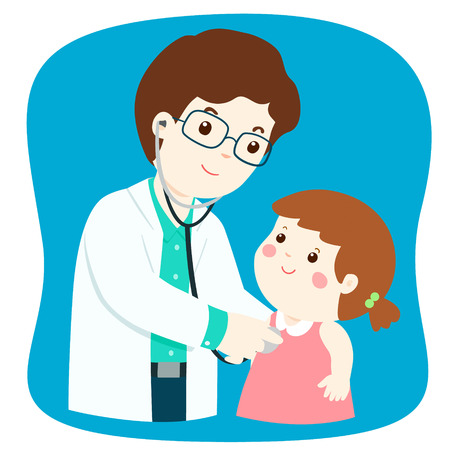 Little girl on medical check up with male pediatrician doctor. Vector illustration in a flat style.