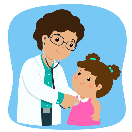 Little girl on medical check up with pediatrician