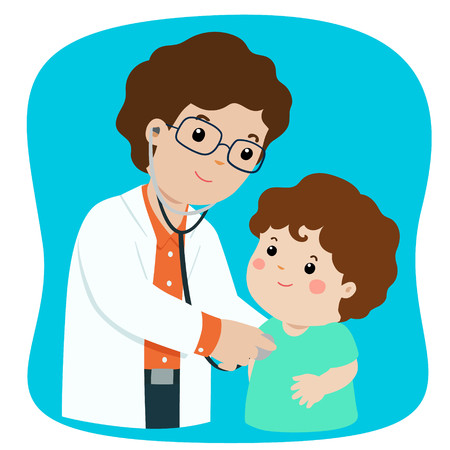 Little boy on medical check up with pediatrician