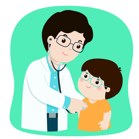 Little boy on medical check up with male pediatrician doctor. Vector illustration in a flat style.