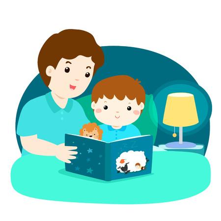 Een vectorillustratie van een vader die een verhaal voor het slapengaan aan zijn zoon leest. Het kind en de zoon zijn in bed bij nachtatmosfeer onder het licht van lamp.