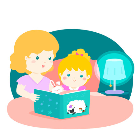 A vector illustration of a mother reading a bedtime story to her daughter.Mom and daughter are in bed at night atmosphere under the light of lamp. Vektoros illusztráció