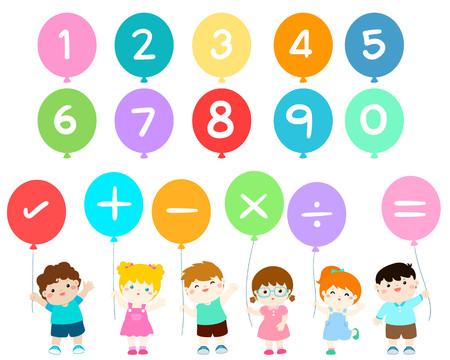 Happy kids with numbers balloons vector illustration. Illustration