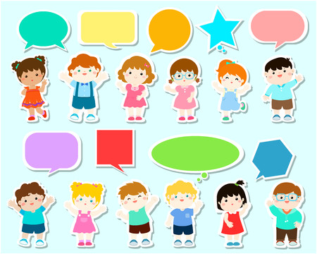 thought balloon: Cute kids with speech bubbles. Set of diverse Kids and Different nationalities with speech bubbles vector illustration. Illustration
