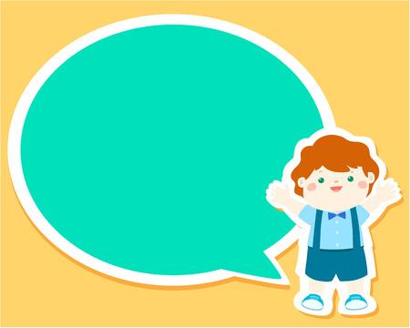 Happy little boy kid with empty speech bubble cartoon vector illustration. Illustration