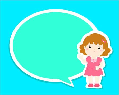 Happy little girl kid with empty speech bubble cartoon vector illustration.