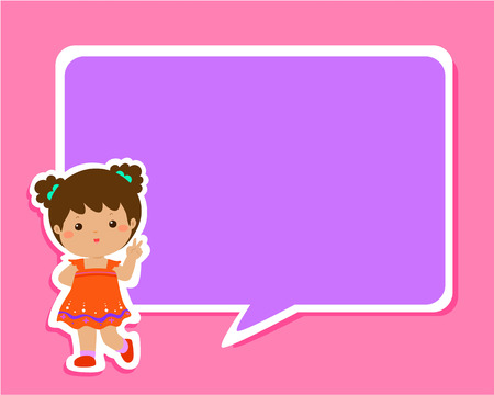 Happy little girl kid with empty speech bubble cartoon vector illustration.