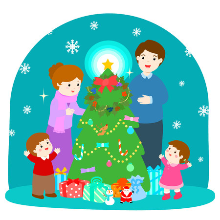 Cartoon vector illustration of a happy family  at the Christmas tree with gifts  and snowflake on blue background.