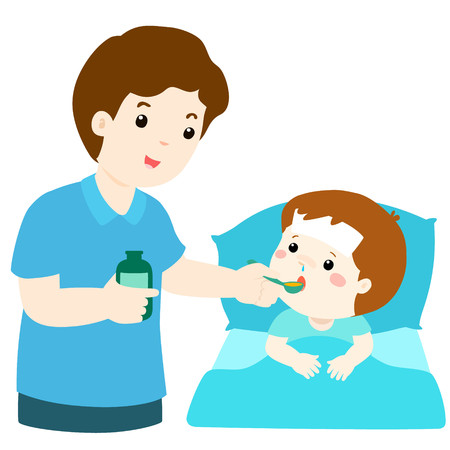 diseased: Father giving son medicine vector illustrationSick little boy in bed taking medicine with spoon. Illustration