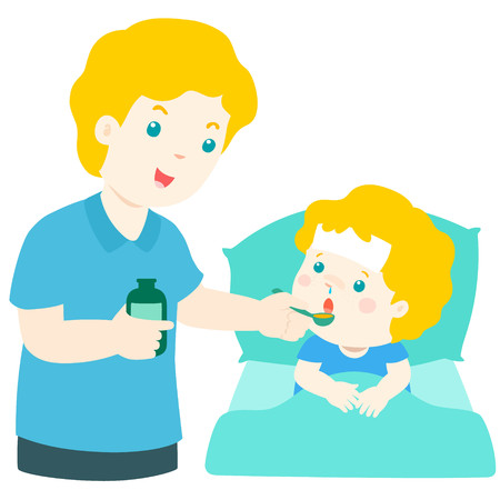 Father giving son medicine vector illustration.Sick little boy in bed taking medicine with spoon.