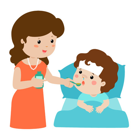 Mother giving son medicine vector illustration.Sick little boy in bed taking medicine with spoon.