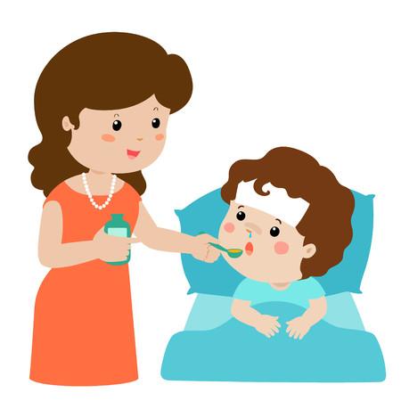 Mutter, die Sohnmedizin-Vektorillustration gibt Kleiner kleiner Junge im Bett, das Medizin mit Löffel nimmt. Vektorgrafik