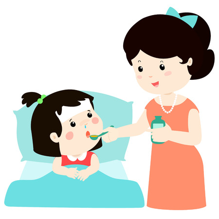 Mother giving daughter medicine vector illustration.Sick little girl in bed taking medicine with spoon. Çizim