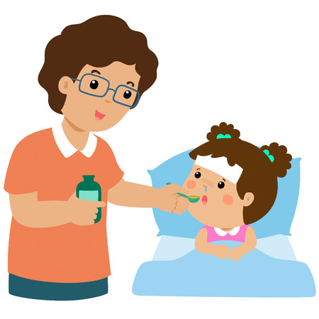 Father giving daughter medicine vector illustration.Sick little girl in bed taking medicine with spoon.