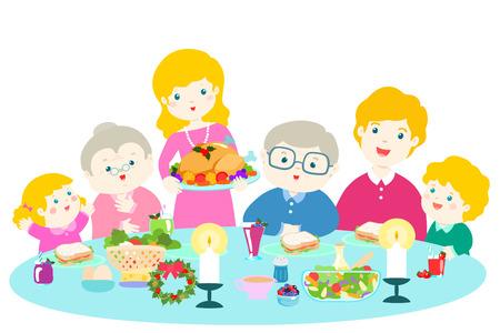Familia feliz con una cena de Navidad. Ilustración de vector