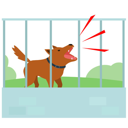 Noisy dog barking all the time in fence of neighbor vector illustration.