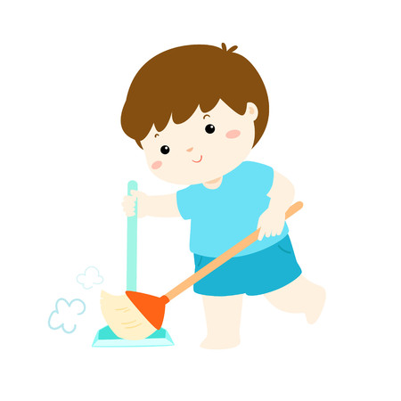Cute boy sweeping the dust on a white background, vector illustration.