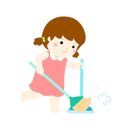 Cute girl sweeping the dust on a white background vector illustration.