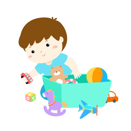 Illustration of smiling kid boy storing his toys in the box.