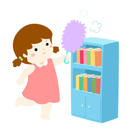 Cute girl wiping the dust from bookshelf vector illustration. Stock Illustratie