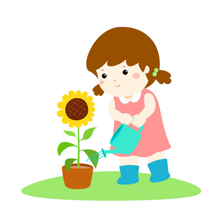 Girl watering the plant icon.