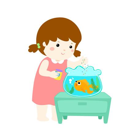 Meisje voederen vis pictogram.