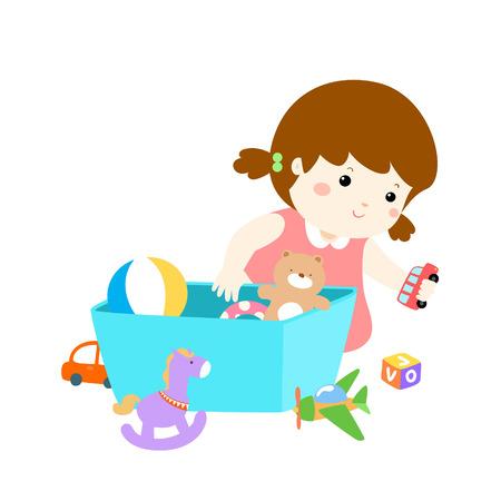 Dziewczyna bawi się zabawkami. Ilustracje wektorowe