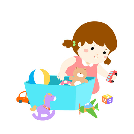Girl playing with her toys. 向量圖像