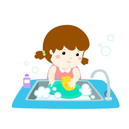 Girl washing the dishes icon. Ilustrace