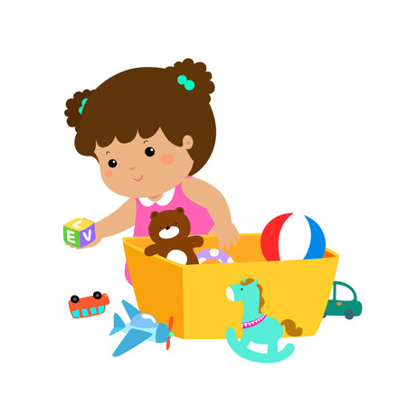 Illustration of smiling girl storing her toys in the box