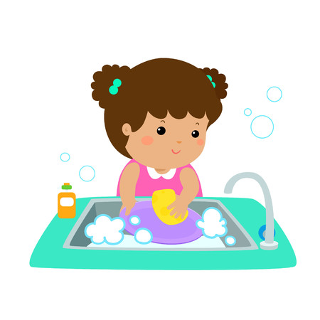 Illustration of a happy girl washing dishes