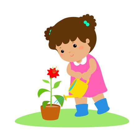 Cute cartoon girl watering a plant vector illustration.