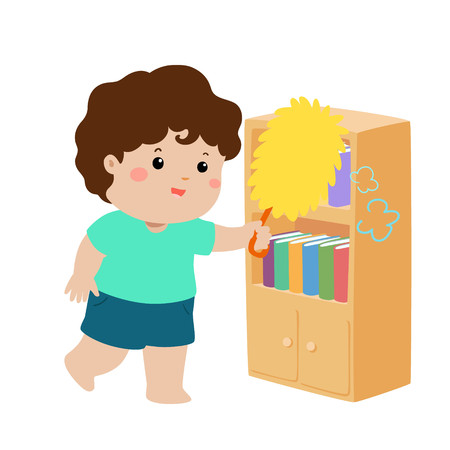 Cute boy wiping the dust from bookshelf vector illustration.
