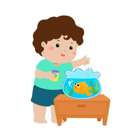 Illustration de l'adorable petit garçon, nourrir les poissons dans le vecteur de dessin animé d'aquarium. Vecteurs